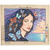 RTO Portrait with Butterflies D'Art Needlepoint Printed Tapestry Canvas, 60 x 50cm