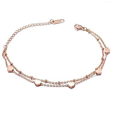 1faa7786ff37d Gkmamrg 2018 nouveauté coeur bracelet femme or rose, en acier inoxydable  pendentif en forme de