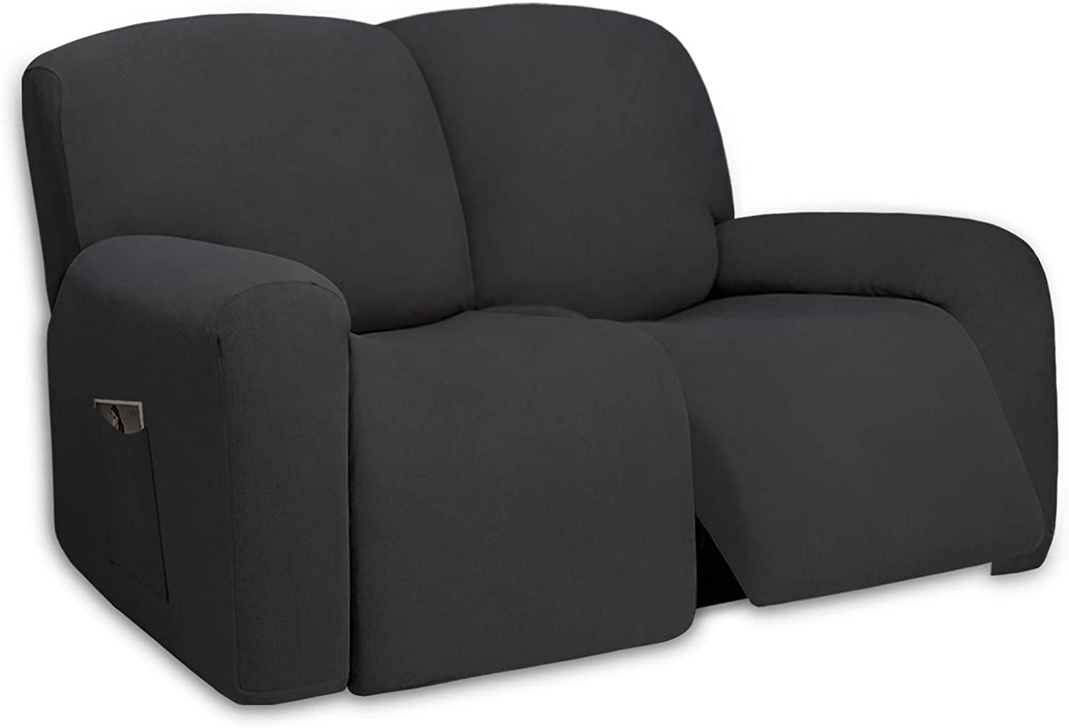 PureFit Super Stretch Loveseat Recliner Sofa Couch Cover with Pocket – 2 Seats Lazy Boy Non Slip Soft Sofa Slipcover, Washable Reclining Furniture Protector for Kid,Pets (Recliner Loveseat,Dark Gray)