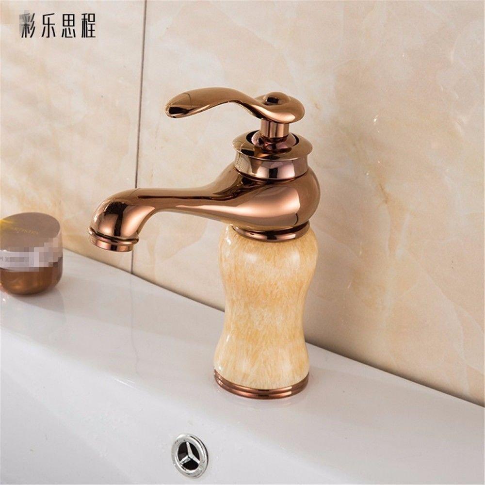 NewBorn Faucet Wasserhähne Warmes und Kaltes Wasser Guter Qualität Alle Kupfer Antik Marmor so Alt und kaltem Wasser Bad Wasser Einzelne Bohrung auf der Spüle Waschbecken, Tippen Sie auf