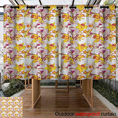 (AndyTours Outdoor Curtains,Daffodil,Complex Colorful Detailed Mixed Narcissus Flower Six Petals Love Balance Painting,Waterproof Patio Door Panel,K140C100 Multicolor)