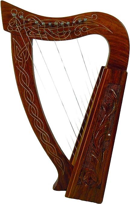 21 Inch Tall Celtic Irish Baby Harp 12 Strings Solid Wood Free Bag Strings Key