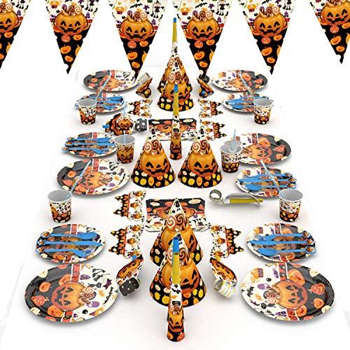 (1 Set Cute Paper Pendant Pumpkin Strips Halloween Hanging Decoration Arrangement Props)