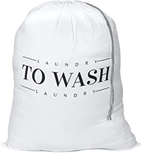 Oussum Travel Laundry Bag Dirty Laundry Bags Heavy Duty Polyester Laundry Bag Machine Washable Large Dirty Clothes Organizer with Backpack Drawstring (White-to Wash)