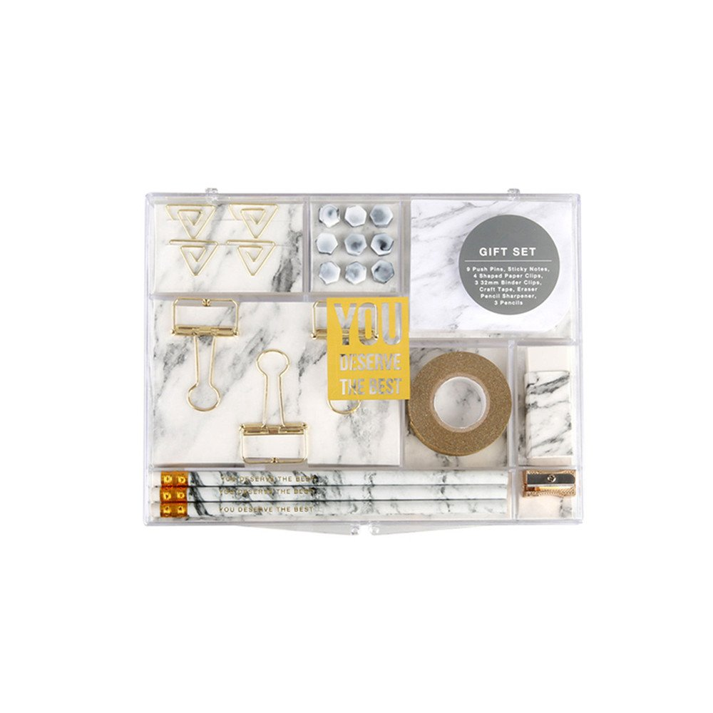 Marble White Stationery Gift Kit School Office Supplies Stationery Sets of 24 Gift Items Office Products (Marble White)