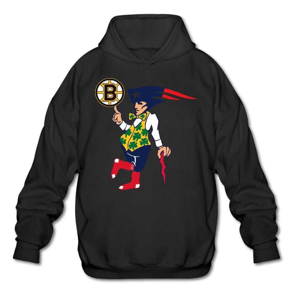 ElishaJ Mens Hooded Sweatshirt Boston Sports Baseball Logo Mixed Black
