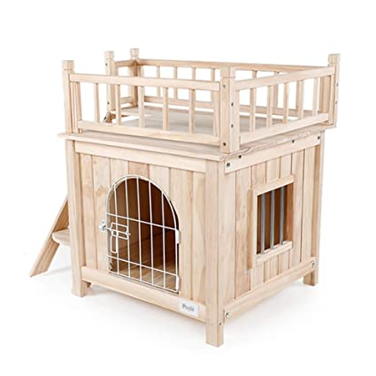 Cama para Mascotas Perrera de Madera Nido Interior para Gatos Casa de Perro de Doble Capa