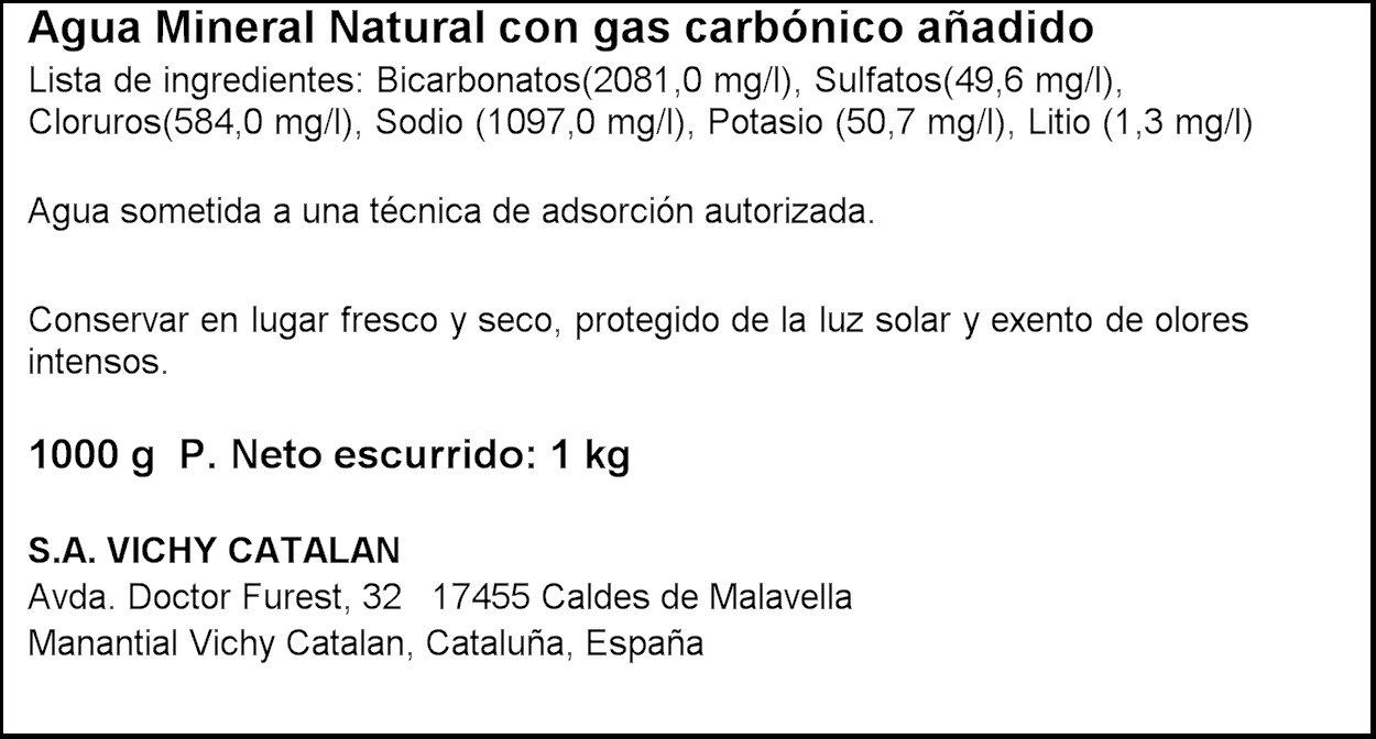 Vichy Catalan Agua Mineral Natural Botella - 1 L: Amazon.es: Alimentación y bebidas