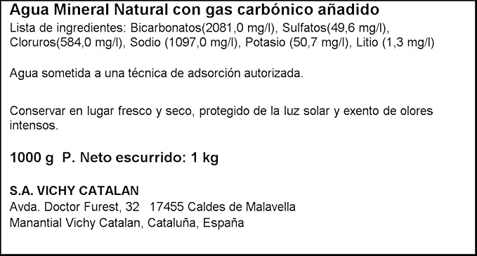 Vichy Catalan Agua Mineral Natural Botella - 1 L: Amazon.es ...