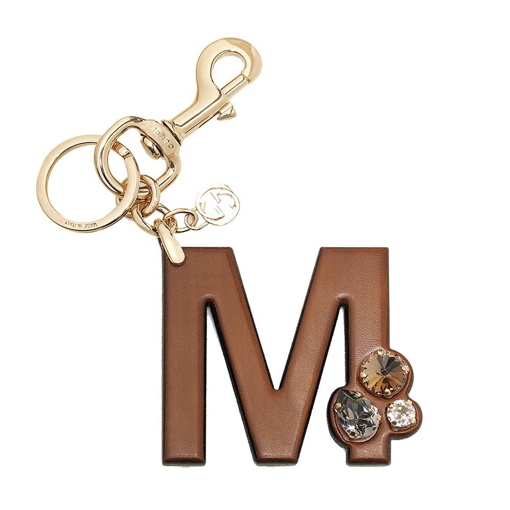 Gucci 'M' Brown Leather Key Ring Handbag Charm with Swarovski Crystals 369488