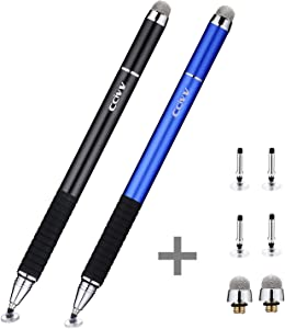 CCIVV Stylus Pen 2 in 1 Fine Point & Mesh Tip for Touch Screen, Compatible for Tablet and Cellphone (2Pcs, Black/Blue)