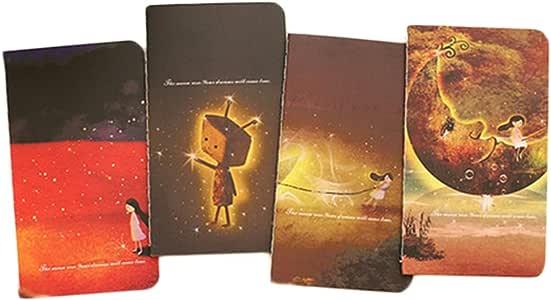 4 x Toruiwa Cuaderno de notas con forro, libro de palabras