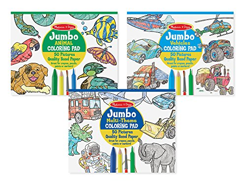 Melissa & Doug Jumbo 50-Page Kids' Coloring Pads Set - Animals, Vehicles, and More]()