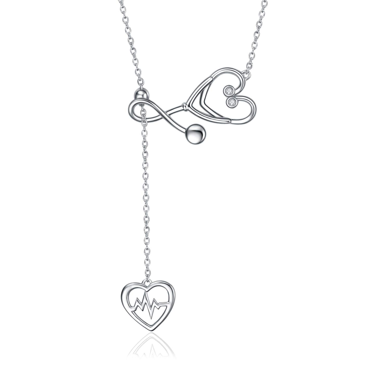 YFN Sterling Silver Stethoscope Jewelry Heartbeat EKG Lariat Y Necklace for Women Doctor Nurse Gift (Stethoscope Lariat Necklace) by YFN