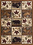 Portrait Wildlife Novelty Lodge Pattern Beige Rectangle Area Rug, 5′ x 7′