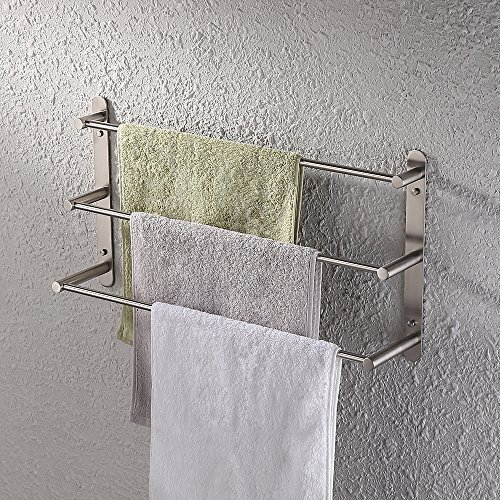 KES 3-Tiers Bath Towel Bar 23.6-Inch Stainless Steel Bathroom Towel Rack Wall Mount, Brushed Finish, BTH202S3-2