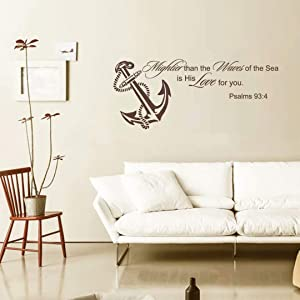 BATTOO Mightier Than The Waves of The Sea is His Love for You Wall Decal Quote- Ocean Nursery Decor- Scripture Wall Art- Bible Verse Wall Decal(14.5