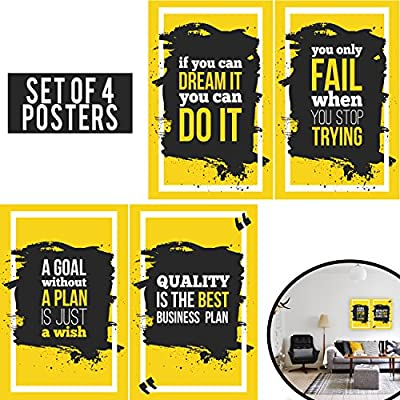 Limited Edition: Yellow Posters Set of four 11x17 CROSSFIT GYM POSTER - Wall Art Motivational Fitness Quotes, Inspirational posters of exercise for Cardio, Calisthenics, Weight Lifting and Spinning