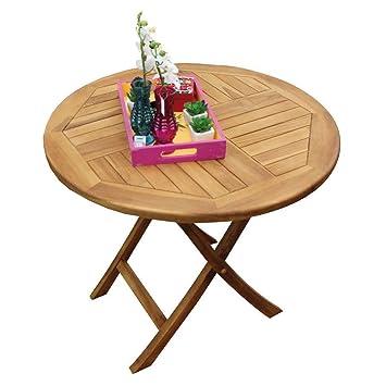 Tavolo Da Giardino Rotondo Pieghevole.Avanti Trendstore Tambun Tavolo Da Giardino In Legno Di Teak
