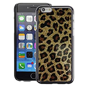 A-type Arte & diseño plástico duro Fundas Cover Cubre Hard Case Cover para Apple (4.7 inches!!!) iPhone 6 / 6S (Gold Bling Glitter Leopard Pattern Fur)