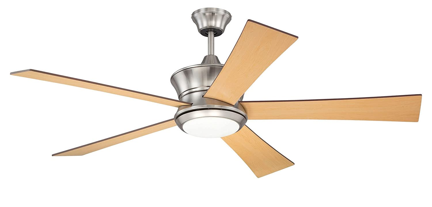Litex E A52bnk5c1r Modway Ceiling Fan With Five Reversible Maple Dark Walnut Blades And Single Light Kit Frosted Opal Glass 52 Inch Com