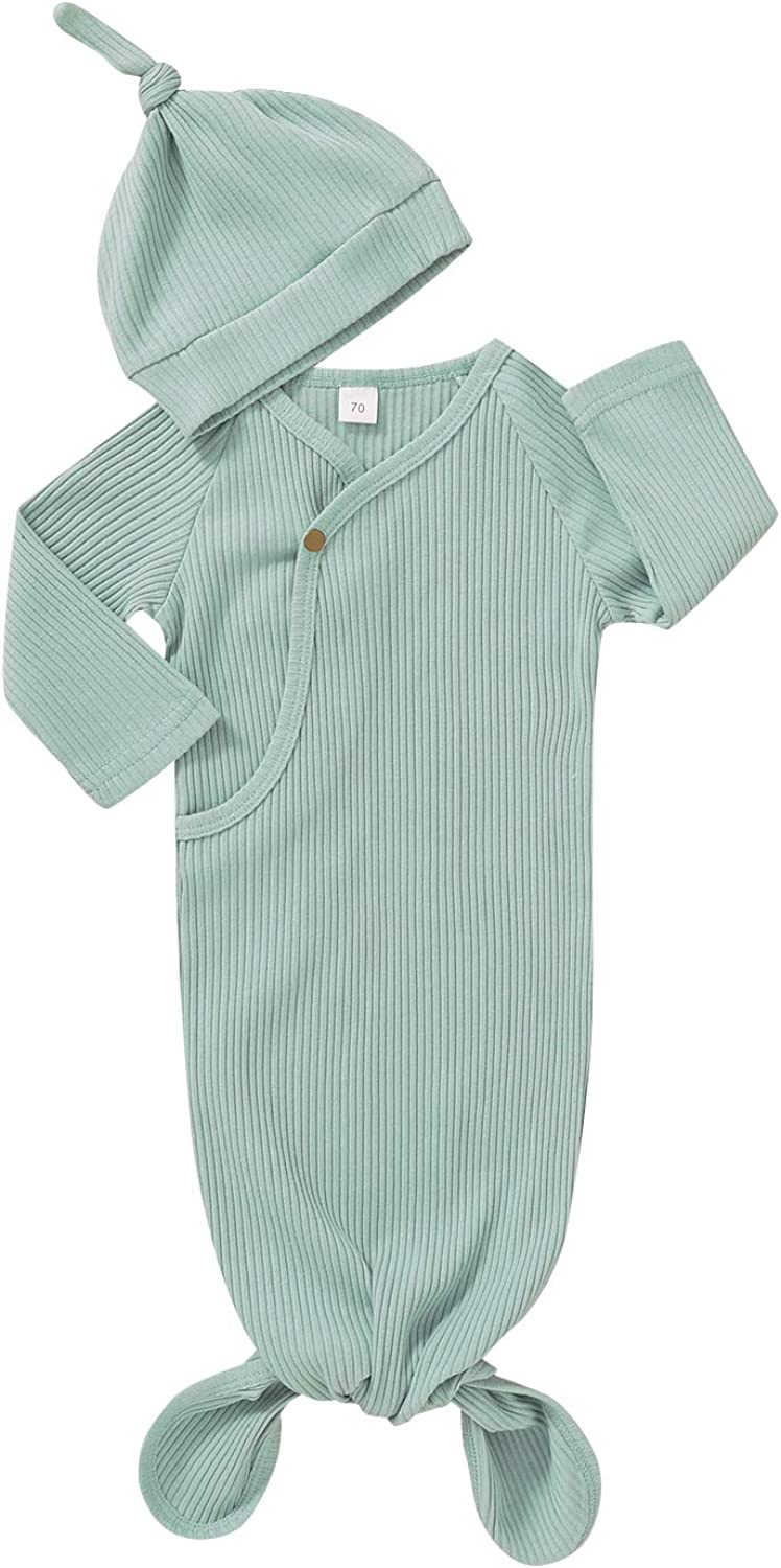 Unisex Newborn Baby Gown Cotton Nightgown Baby Sleeping Bags Baby Boy Girl Coming Home Outfits Set