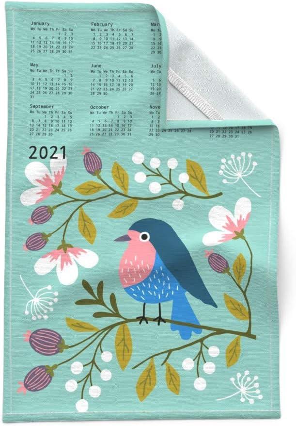 Spoonflower Tea Towel Calendar Blue Cute Floral Modern Cat Kitty Linen Cotton