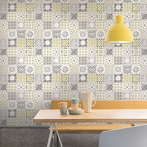 Grandeco Porto Floral Pattern Wallpaper Baroque Motif Kitchen Bathroom Yellow A22901