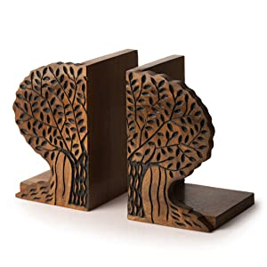ExclusiveLane Tree of Life Book End in Sheesham Wood- Book Racks for Home Book Shelf Cases Organiser