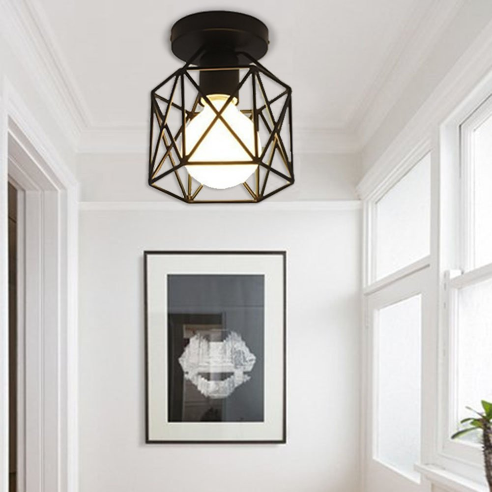 Vintage Light Fixtures Ceiling Flush Mount Industrial Antique Lighting Mini Rustic Metal Wire Cage Pendant Lamp for Hallway by jose2015 (Image #7)