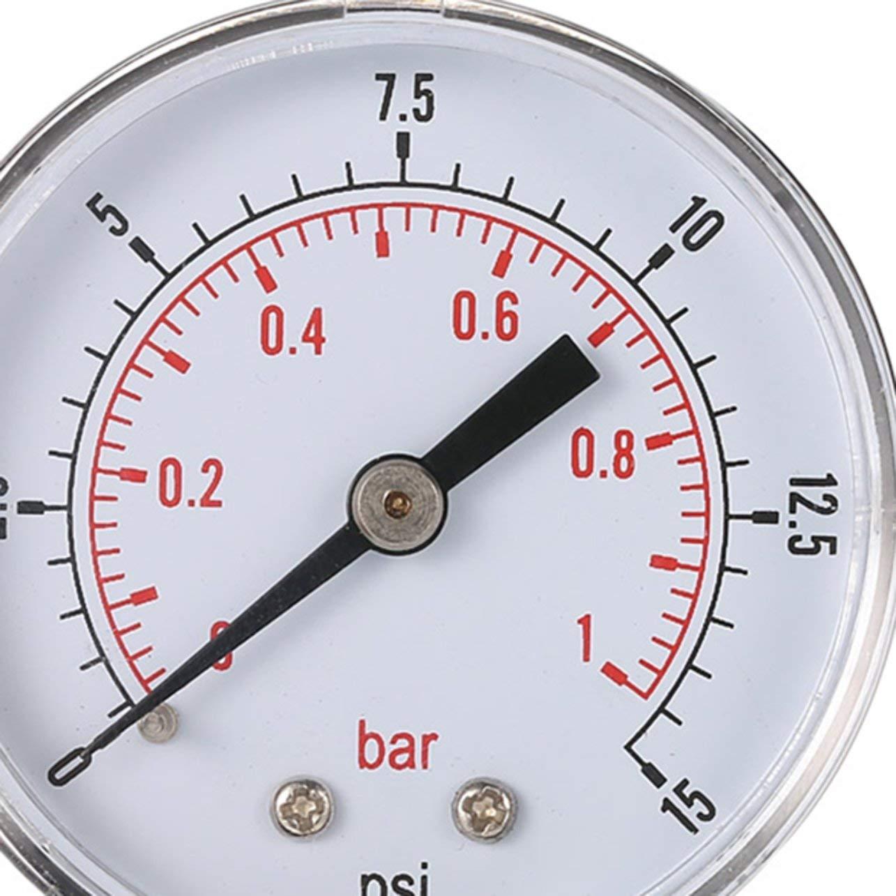 Mini Manometro bassa pressione per il carburante aria olio o acqua 50 millimetri 0-15 PSI 0-1 bar