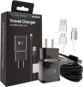 Samsung Fast Adaptive Fast 3.0 Turbo C Type Home Travel Charger with M3 C to C USB - for Galaxy S8,S9,S10,+ Plus,Note8,Note9, (Retail Packing)