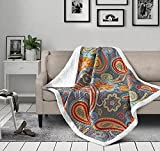 Virah Bella Conessa Jewelstone Paisley Quilt Throw with Sherpa Backing