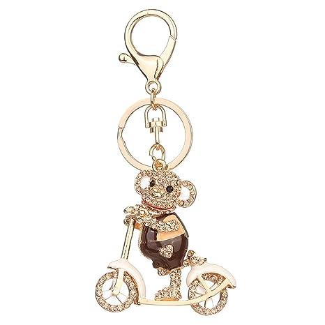 Dairyshop Rhinestone monkey llavero llavero cadena de la ...