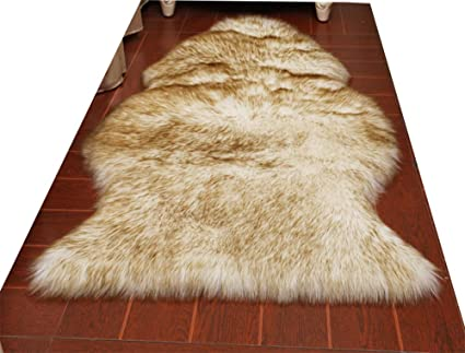 2d367e79c63 HUAHOO Faux Fur Sheepskin Rug Coffee White Kids Carpet Soft Faux Sheepskin  Chair Cover Home Décor Accent for a Kid's Room,Childrens Bedroom, Nursery,  ...