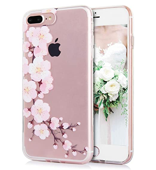 on sale 0ced8 03d1c iPhone 8 Plus iPhone 7 Plus Case Cute Flowers Watercolor Floral Pink White  Peach Blossom Pattern Clear IMD Hybrid Hard TPU Back Cover Shockproof ...