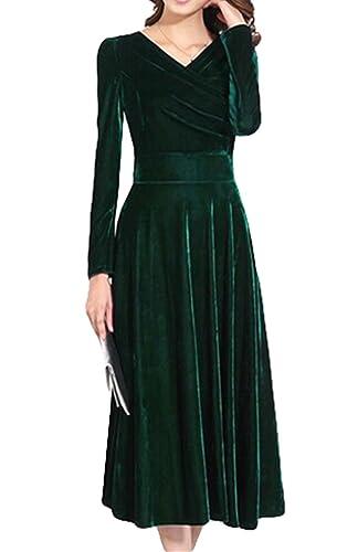 LIMATRY Women's V-Neck Long-Sleeved Noble Gold Velvet Dress