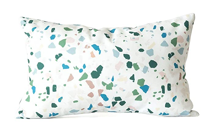 12x18 Modern Terrazzo Tile Lumbar Pillow Cover