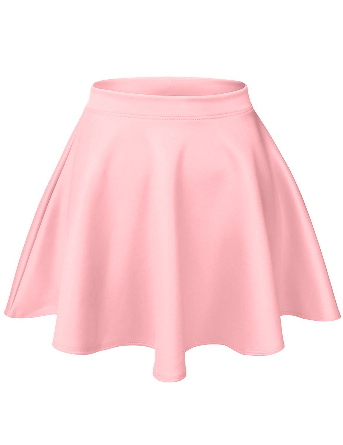 Luna Flower Women's Basic Versatile Stretchy Flared Casual Mini Skater Skirt Mauve Large (GSKW001)