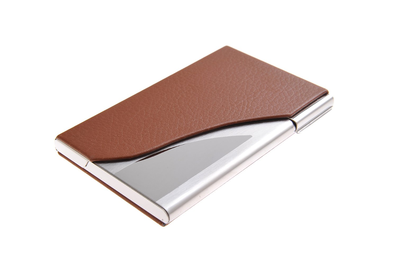 Un porte-cartes de visite fait en acier inoxydable de haute qualité et cuir, pour 13-15 cartes de visite, couleur: marron, Mod. 398-03 (DE)