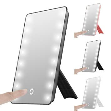 16 led lighted vanity portable touch screen led makeup mirror battery operated cordless - Lighted Vanity Mirror