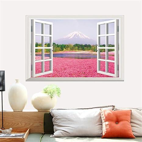 Adesivi Murali Finte Finestre.Pllp Adesivi Murali Fiori Rosa Mare Finte Finestre Paesaggio Adesivi