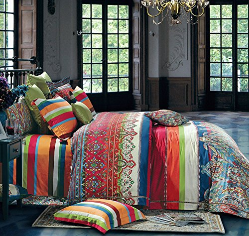 Gypsy Bedding (3-Piece Bohemian Ethnic Style Vibrant Color Bedding Sets/Collections,Morocco Boho Chic Stripe Pattern Duvet Cover Sets with Shams,Floral Print for Home Decor,Full)