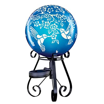 Collections Etc Solar Hummingbird Gazing Ball on Scrolling Black Metal Stand - Whimsical Outdoor Décor : Garden & Outdoor