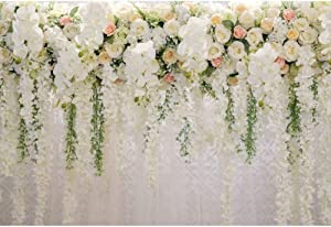 YongFoto 8x6ft Wedding Reception Ceremony Backdrop White Flowers Green Leaves Wall Photography Background Bridal Shower Birthday Party Decor Kids Adult Portrait Photo Banner Studio Props Wallpaper