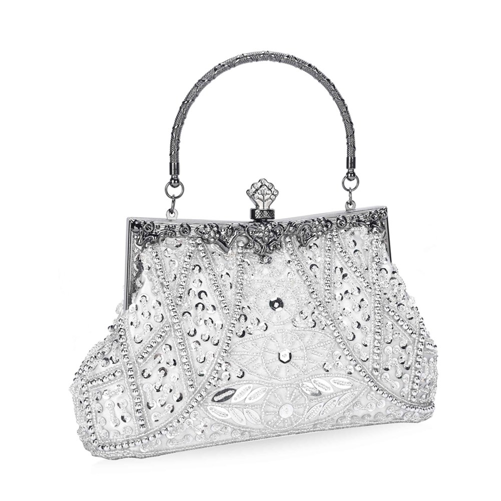 Chichitop Women's Vintage Beaded and Sequined Evening Bag Wedding Party Handbag Clutch Purse, Silver