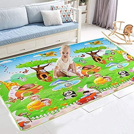 【Ideal Gift for Baby】Baby Child Crawling mat 2 Side Kids Playing Gym Mats Care Play Mat Crawl Mats Carpet 200 x 180 x 0.6cm