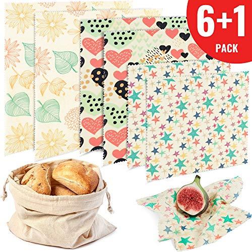 Reusable Beeswax Food Storage Wraps - Set of 6 - Plastic Free Alternative to Saran Wrap - Bowl Cover, Sandwich Wrap - 2 Small, 2 Medium, 2 Large, 1 Cotton Produce Bag