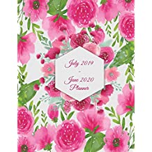 "July 2019-June 2020 Planner: Pink Floral, Calendar Book July 2019-June 2020 Weekly/Monthly/Yearly Calendar Journal, Large 8.5"" x 11"" 365 Daily journal Planner, 12 Months July-June Calendar, Agenda Planner, Calendar Schedule Organizer Journal Notebook"