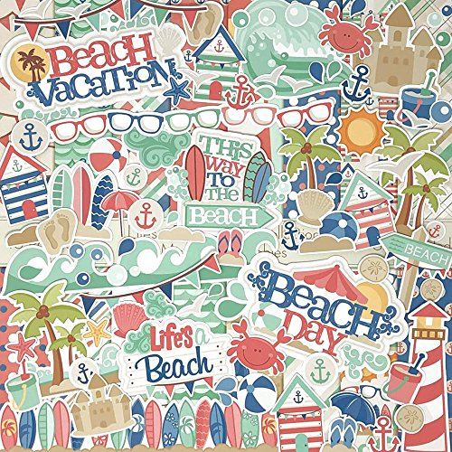 Life's a Beach - Die Cuts & Paper Set - by Miss Kate Cuttables - 16 Sheets of 12